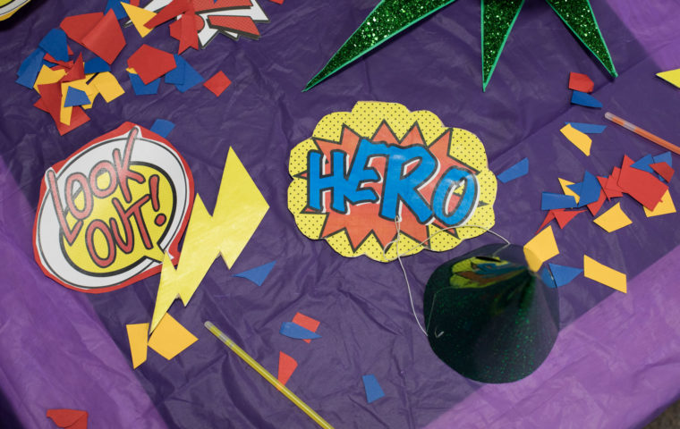 Super hero party theme set up for Cocktails in Care Homes