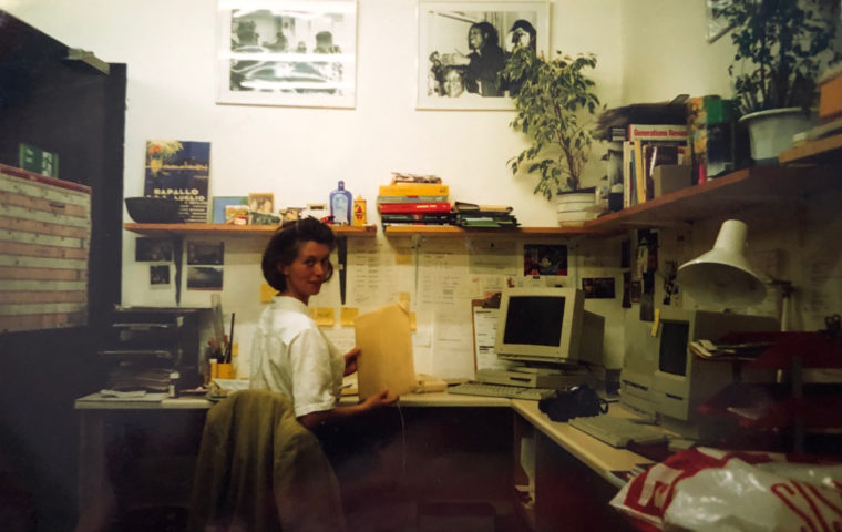 Susan Langford in Magic Mes Stroudley Walk Office in 1995ish. Photo credit Magic Me