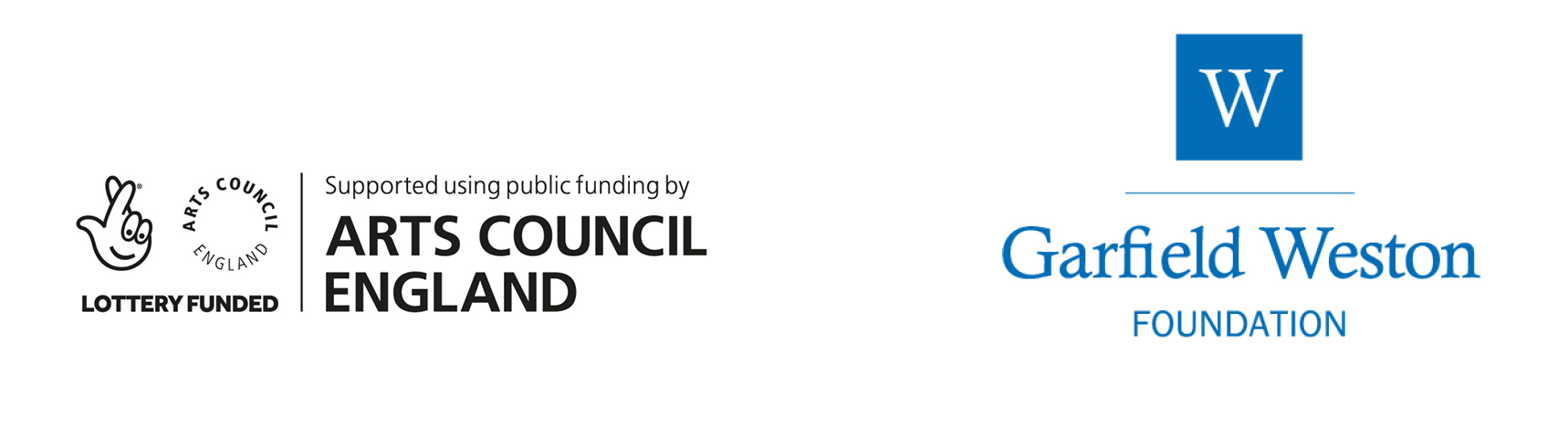 logos of arts council england and garfield weston foundation