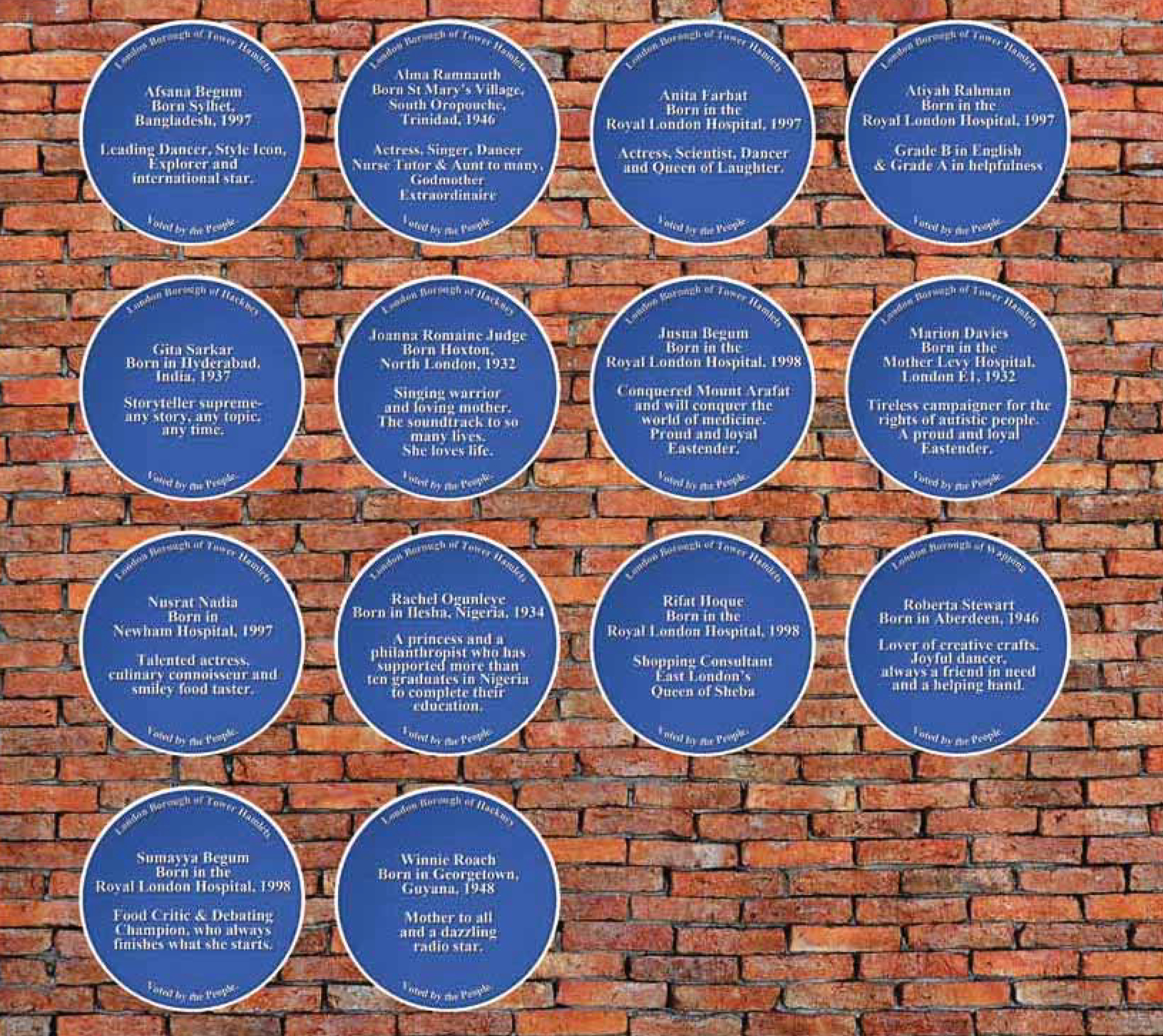 Photo: Nick Pinder, 2012 Blue plaques from Where the Heart Is women's project. The text in praise of each person was written by others in the group. For more details download: Wild, Wild Women report.