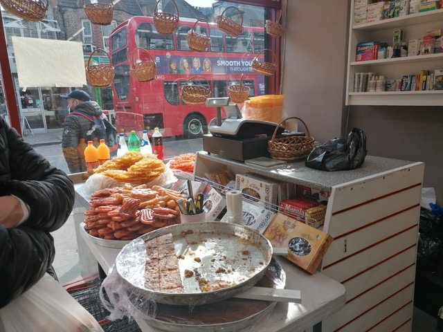 Picture shows a bakers shop in Waltham Forest with an array of baked goods on the counter.