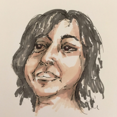 Picture shows an ink drawing of a young asian woman with short dark hair and brown eyes