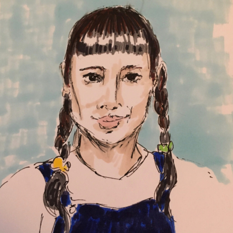 Picture shows an ink drawing of a young woman with dark hair with a strong fringe and plaits, she is wearing a white shirt and denim dungarees against a blue background