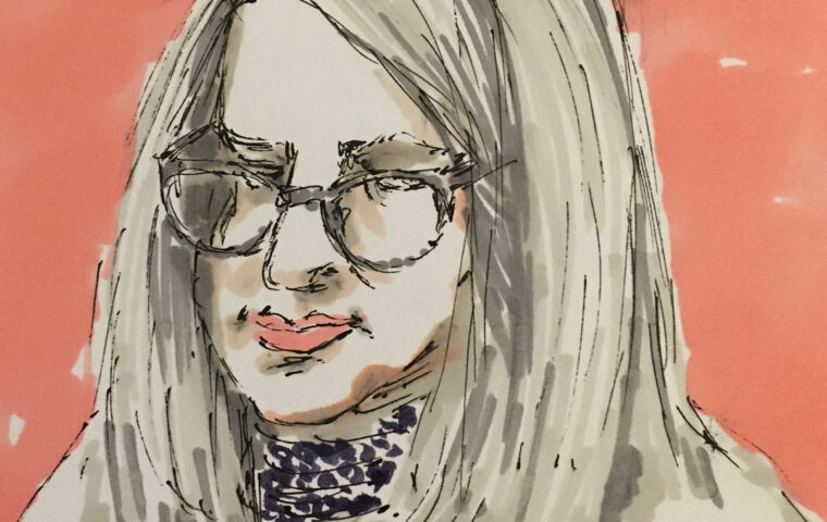 Portrait of Helen Keegan by Deborah Mason shows an ink drawing of the head and shoulders of a woman with grey shoulder length hair, she is wearing glasses and a blue and white striped top, she is looking down, set against a terracotta background