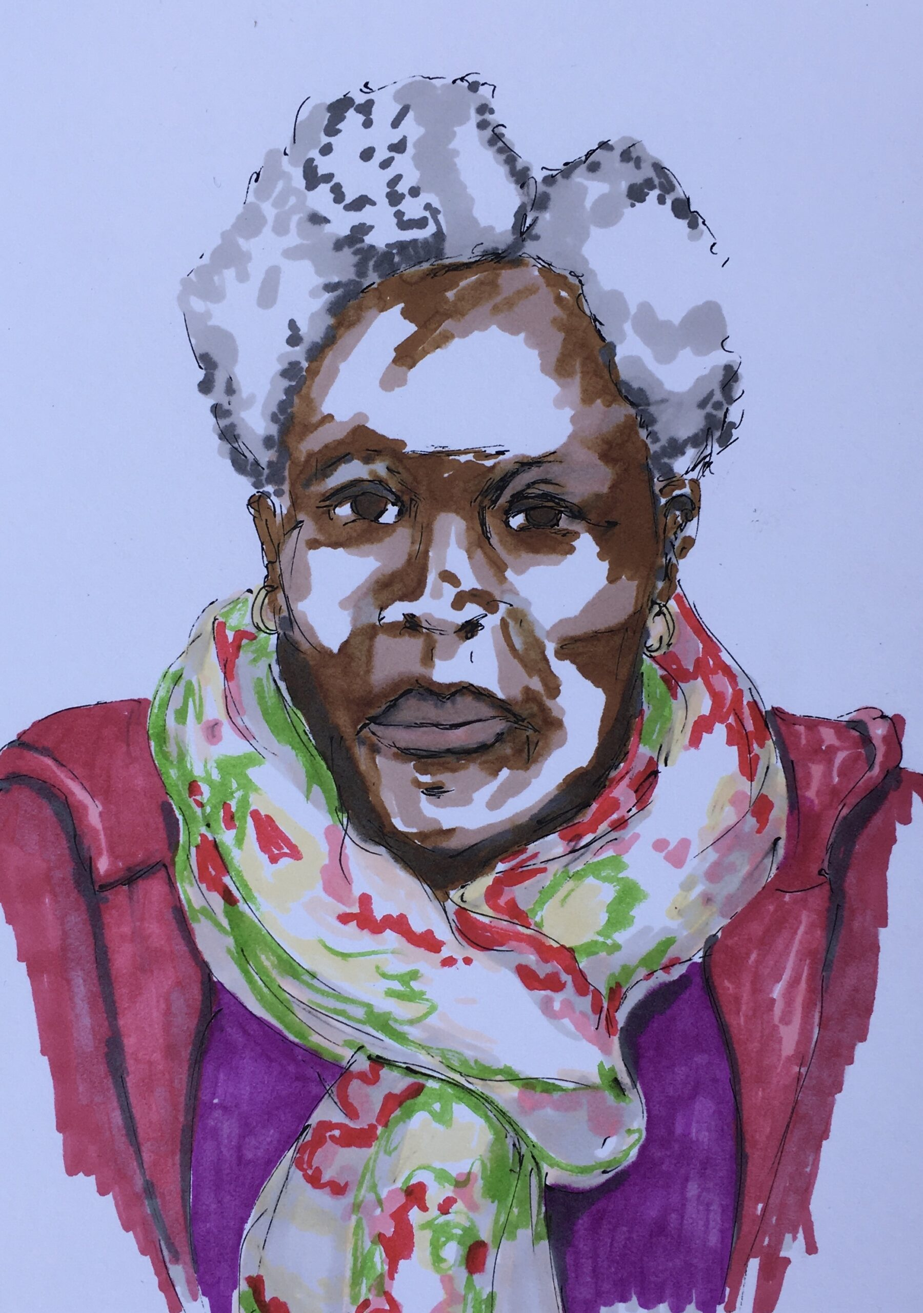Picture shows an ink drawing of an older black woman with grey hair, she is wearing a brightly coloured scarf, purple top and pinkish red jacket.