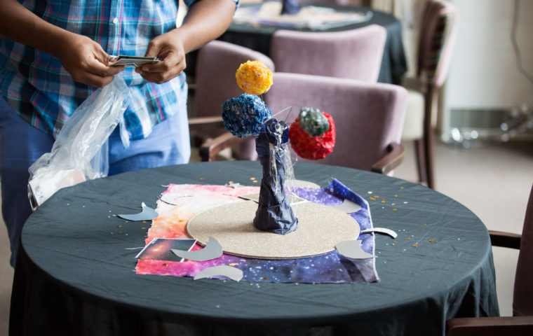 Cocktails in Care Homes - Solar System Soiree theme decoration